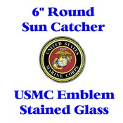 Stained Glass USMC Emblem 6-inch round (no discounts apply)