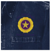 Embroidered Gold Star Pin with Custom Text Above and Below - Heavyweight Denim Shirt