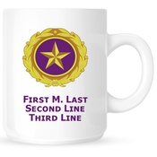 Coffee Mug with Gold Star Pin Design and Custom Text