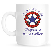 Coffee Mug with Blue Star Mothers Logo and Custom Text