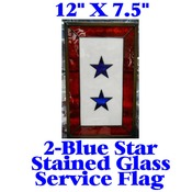 Stained Glass Service Flag with 2 Blue Stars (no discounts apply)