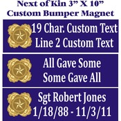 Custom Gold Star Next of Kin 3X10 Bumper Magnet