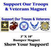 Support Our Troops and Veterans Bumper Magnet