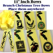 11 Inch Branch Holiday Ribbon Bow