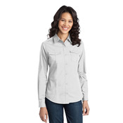 Ladies Stain Resistant Roll Sleeve Twill Shirt