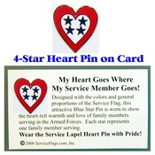 4-Star Service Flag Heart Pin
