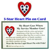 5-Star Service Flag Heart Pin