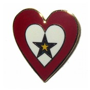 Service Flag Heart Pin with Gold Star