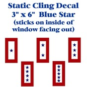 "Blue Star Static Cling Decal 3"" X 6"""