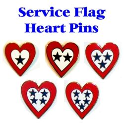Service Flag Heart Pins Thumbnail