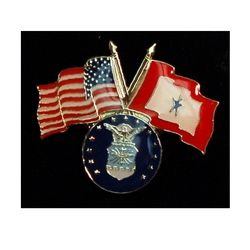 Air Force Pin with Crossed US/Service Flags Thumbnail