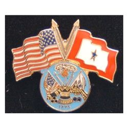 Army Pin with Crossed US/Service Flags Thumbnail