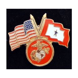 USMC Pin with Crossed US/Service Flags Thumbnail