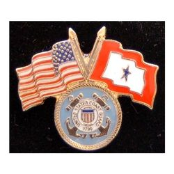 Coast Guard Pin with Crossed US/Service Flags Thumbnail