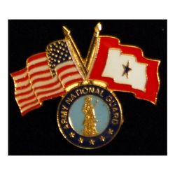 Army Natl Guard Pin with Crossed US/Service Flags Thumbnail