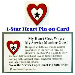 1-Star Service Flag Heart Pin Thumbnail