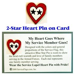 2-Star Service Flag Heart Pin Thumbnail