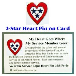 3-Star Service Flag Heart Pin Thumbnail