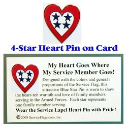 4-Star Service Flag Heart Pin Thumbnail