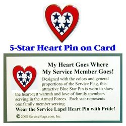 5-Star Service Flag Heart Pin Thumbnail