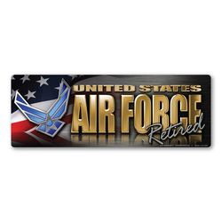 Air Force Retired Chrome Bumper Strip Magnet Thumbnail