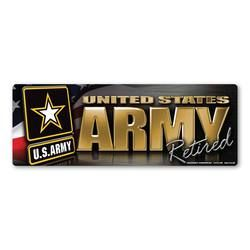 Army Retired Chrome Bumper Strip Magnet Thumbnail
