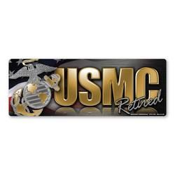 USMC Retired Chrome Bumper Strip Magnet Thumbnail