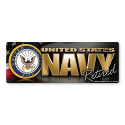 Navy Retired Chrome Bumper Strip Magnet Thumbnail