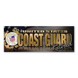 Coast Guard Retired Chrome Bumper Strip Magnet Thumbnail
