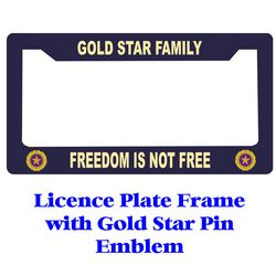 Gold Star Pin Licence Plate Frame Thumbnail