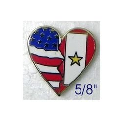 Heart Pin with USA Flag/Service Flag with Gold Star 5/8