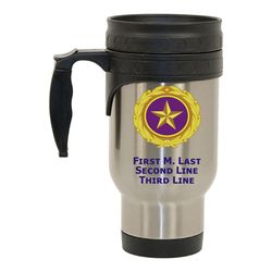 Stainless Steel Travel Mug with Gold Star Pin Design Thumbnail