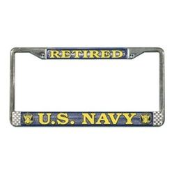 US Navy Retired License Plate Frame (Limited Availability) Thumbnail