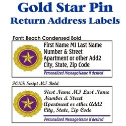 Gold Star Pin Address Labels Thumbnail