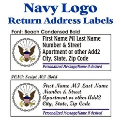 Navy Logo Stock Address Labels Thumbnail