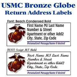 USMC Bronze Globe Stock Address Labels Thumbnail