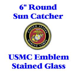 Stained Glass USMC Emblem 6-inch round  Thumbnail