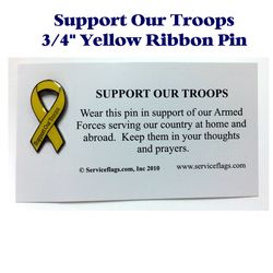 Support our Troops Yellow Ribbon Pin Thumbnail