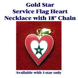 Gold Star Service Flag Heart with 18