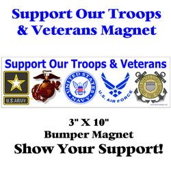 Support Our Troops and Veterans Bumper Magnet Thumbnail
