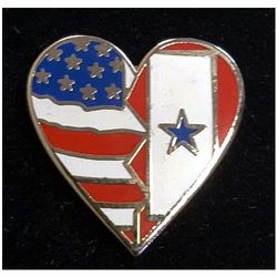 Service Flag/USA Flag Heart Pin Thumbnail