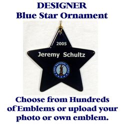 Blue Star Ornament With Selected Emblem and Text Thumbnail