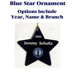 Blue Star Ornament w/Custom Text and Selected Branch logo Thumbnail
