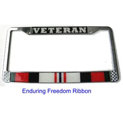 Veteran Enduring Freedom Ribbon License Plate Frame (Limited Availability) Thumbnail
