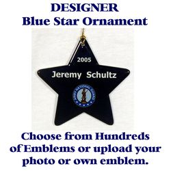 Copy of Blue Star Ornament With Selected Emblem and Text Thumbnail