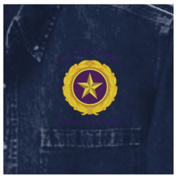 Embroidered Gold Star Pin with Custom Text Above and Below - Heavyweight Denim Shirt Thumbnail