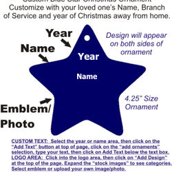 Blue Star Ornament with Custom Text and Logo Thumbnail