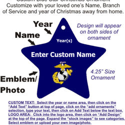 USMC Blue Star Ornament with Custom Year and Name Thumbnail