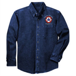 Heavyweight Denim shirt with Blue Star Mothers Logo and Custom Text - Heavyweight Denim Shirt Thumbnail